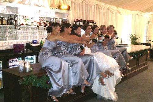 Bride with bridesmaid at the bar Selden Barns wedding venue